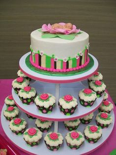AMAZING BUTTERCREAM FROSTING BABY SHOWER CAKES | round layer cake with cupcakes. Buttercream icing with fondant ...