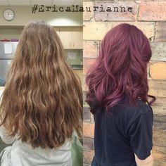 Before and after of @courtmariee2! Fun!!!! #VelvetSalon #FocusSalon #NewHair #VioletHair #Curls #EricaMaurianne