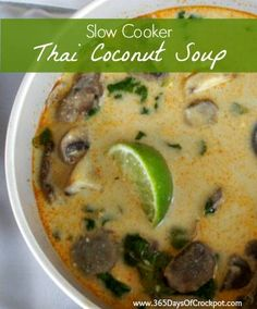 Easy crockpot recipe for Thai Coconut Lemongrass Soup. Less curry paste. Add spinach.