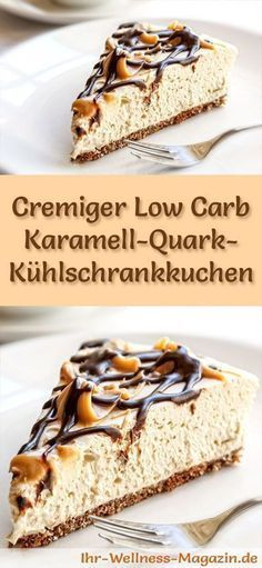 Fast Low Carb Caramel Quark Fridge Cake - Recipe Schneller Low Carb Karamell-Quark-Kühlschrankkuchen – Rezept ohne Zucker Recipe for a creamy low-carb caramel-quark cake – low-carb, low-calorie, without sugar and flour - Low Carb Sweets, Low Carb Desserts, Low Carb Recipes, Quark Recipes, Flour Recipes, Refrigerator Cake, Fridge Cake, Paleo Dessert, Healthy Dessert Recipes