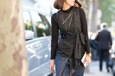 Black texture ~ Paris Street Style-Outfit Inspiration From Paris Fashion Week