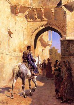 srednod: Street Scene in India - Edwin Lord Weeks 1884