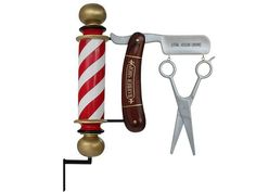 Pop Art Decoration - People - Clowns - Barber Pole & Antique Shaving Blade & Scissors Advertising Board