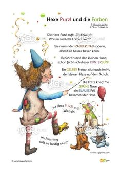 DE Kindergarten KiGaPortal-Carnival Witch Witches Color Color rhyme Poem rhyme Source by Kindergarten Portfolio, Kindergarten Math, Preschool, Mardi Gras, Diy Crafts To Do, Learning Activities, Elementary Schools, Little Ones, Carnival