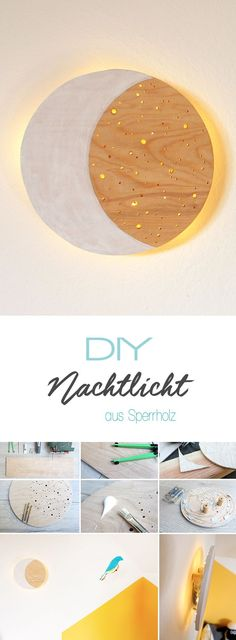 Do it yourself: Wooden night light just make it yourself Dani from Gingered Things shows you on her Wooden Crafts, Wooden Diy, Diy And Crafts, Baby Room Boy, Diy Blog, Comme Des Garcons, Diy For Kids, Night Light, Babies Rooms
