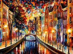 Amsterdam, Night canal — PALETTE KNIFE Oil Painting on Canvas by AfremovArtStudio, $339.00