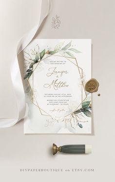 CLEO - Geometric Wedding Invitation Template, Boho Wedding Invite Template, Wedding Invitation Template D Wedding Prep, Boho Wedding, Wedding Planning, Wedding Day, Wedding Rings, Handmade Wedding, Dream Wedding, Wedding Beauty, Spring Wedding