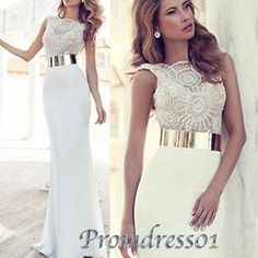 Prom dresses long, elegant white lace beaded prom dress with belt, mother of the bride dress, prom dress 2016 www.promdress01.c... #coniefox #2016prom