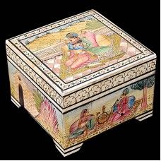Store your precious jewellery carefully in this beautiful jewellery box . It is bone fitted and Mughal art design is made on this box.It is in square shape. This Jewelry Box will look good as a display piece and also makes for an excellent wedding gift.Note: This is Handcraft Item so each item will be different than other due to limitation of photography.