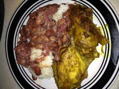 Curry Turkey Wings with Rice and Beans.