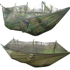452d9a821d1 260x130cm Portable Outdoor Garden Army Green Camo High Strength Parachute  Fabri Camping Hanging Bed Hammock