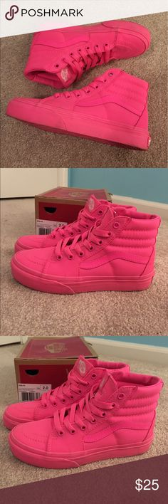 Pink VANS  Rarely worn Hot pink sk8 hi Vans! Exclusive color. NEON pink!! Unfortunately, these were a little too small. Youth size 2!  Vans Shoes Sneakers