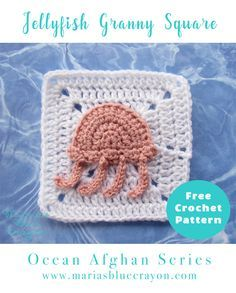 Crochet Jellyfish Granny Square | Jellyfish Applique | Free Crochet Pattern | Ocean Afghan Series