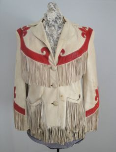 vintage ladies western fringed jacket in white leather with red trim