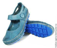 Обувь ручной работы. Ярмарка Мастеров - ручная работа. Купить Мокасины синие. Handmade. Синий, туфли, летняя обувь