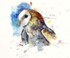 BARN OWL Original Watercolor Painting By Dean by DeanCrouserArt