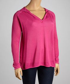 Look what I found on #zulily! Totally Pink V-Neck Hoodie - Plus by Caribbean Joe #zulilyfinds