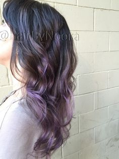 Lilac balayage lavender purple hair ombré haircut waves style
