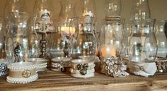 Hurricane Globes with  a Vintage Touch - Flea and Farm Mercantile Wedding Rentals
