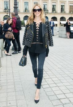On Olivia Palermo: Rebecca Minkoff Pearl Embellished Wes Moto Jacket and Black Orchid Noah Ankle Fray Stay Black