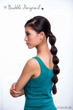 the bubble ponytail long hair tutorial - Stylishlyme.com