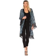 House of Harlow 1960 x REVOLVE Lange Bed Jacket ($220) ❤ liked on Polyvore featuring outerwear, jackets, coats & jackets, open front jacket, fringe jacket and house of harlow 1960