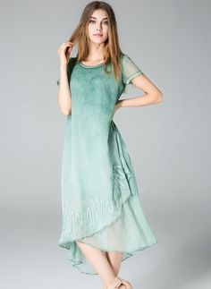 Polyester Solid Short Sleeve High Low Casual Dresses (1955103159) - Floryday