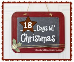 Super Saturday Crafts Christmas countdown chalk board with vinyl lettering. Michaels has the chalkboards for a dollar and we can provide the vinyl Christmas Vinyl Crafts, Christmas Chalkboard, Christmas Countdown, Christmas Projects, Holiday Crafts, Christmas Ideas, Christmas Stuff, Holiday Ideas, Holiday Decorations