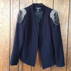 Shoulder embellished blazer Gorgeous blazer with silver details on shoulders.... Worn couple times. H&M Jackets & Coats Blazers