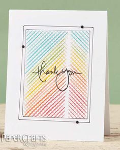 Combine colored pencils with a stencil for an easy to create card; Teri Anderson - Paper Crafts & Scrapbooking September 2014; make cards, stencils, thank you