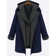 Yoins Blue Causal Hoodie Side Pocket Double Breasted Long Sleeves Coat (1,840 MXN) ❤ liked on Polyvore featuring yoins and blue