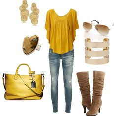 Yellow., created by #wcatterton on #polyvore. #fashion #style #Dsquared #Sofft