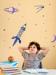 Kids Wall decal Per aspera ad astra,FREE DELIVERY to UK,Hand drawn sticker,Vinyl wall sticker,Space wall sticker,Children room wall sticker by StickyColours on Etsy https://www.etsy.com/listing/223741510/kids-wall-decal-per-aspera-ad-astrafree