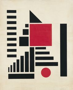 Composition in Red, Black, & White, 1924.  Henryk Berlewi, was a Polish Jewish painter, graphic designer and art theorist. Berlewi is primarily remembered as an abstract artist who paved the way for optical art, but he was also an important figure in Yiddish book design and typography in the early 1920s.