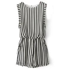 Chicnova Fashion White Black Stripe Print Sleeveless Jumpsuits ($40) ❤ liked on Polyvore featuring jumpsuits, rompers, dresses, jumpsuit, playsuits, stripe romper, sleeveless romper, playsuit romper, jump suit and striped jumpsuit