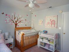 Gray and Pink Elephant Nursery