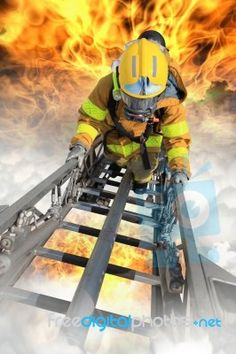 FREE Firefighters Fighting Fire During Training Stock Photo