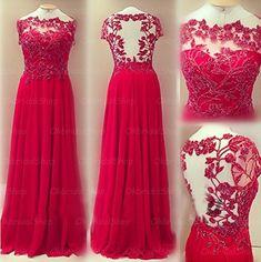 Charming A Line Floor Length Chiffon Evening Dress,