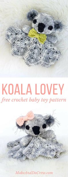 Crochet Amigurumi Ideas Make this free crochet lovey pattern for your favorite little marsupial. The… - This amigurumi koala lovey pattern works up quickly using only one skein and some scrap yarn, which makes it a perfect baby shower gift idea. Crochet Baby Toys, Cute Crochet, Baby Blanket Crochet, Crochet For Kids, Crochet Animals, Knit Crochet, Lovey Blanket, Crotchet, Scrap Crochet