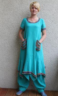 Eco friendly turquoise linen dress  tunic от rubuartele на Etsy, $62.00