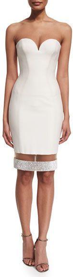 Versace Strapless Sweetheart Illusion-Hem Cocktail Dress, White