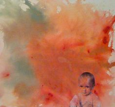 toddler painting. acrylic photo transfer
