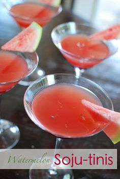 Watermelon Soju-tinis....a refreshing cocktail made with fresh watermelon agua fresca, lime juice, zest and Korean soju.