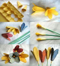 flores con cartones para huevos