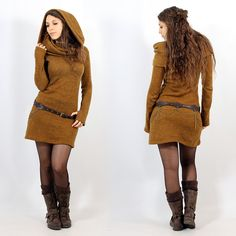 Yggdrazil \Mantra\ pullover dress, Rusty