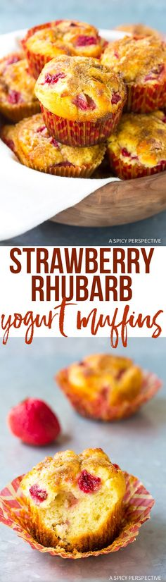 The Best Strawberry Rhubarb Yogurt Muffins Recipe #summer via @spicyperspectiv