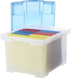 Storex Plastic File Tote Storage Box with Snap-On Lid, Letter/Legal Size, Clear (61508U01C).    37.2 x 30.5 x 27.7 cm  Amazon.ca  $10.00