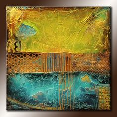 30x30 Original Abstract Painting TEXTURED Square Canvas Modern Acrylic Teal Brown Lime Green Gold Fine Art by Maria Farias
