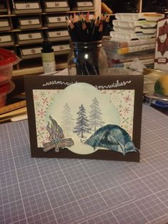 The Great Outdoors stampin up. Camping Cards, Craft Projects, Projects To Try, Diy And Crafts, Paper Crafts, Craft Cards, Camping Theme, Punch Art, Masculine Cards
