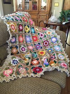 Granny Square Crochet Pattern, Crochet Flower Patterns, Granny Square Blanket, Afghan Crochet Patterns, Crochet Squares, Baby Knitting Patterns, Crochet Flowers, Crochet Quilt, Crochet Cross